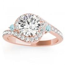 Halo Swirl Aquamarine & Diamond Engagement Ring 18K Rose Gold (0.48ct)