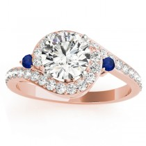 Halo Swirl Sapphire & Diamond Engagement Ring 14k Rose Gold (0.48ct)