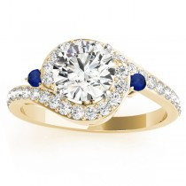 Halo Swirl Sapphire & Diamond Engagement Ring 18K Yellow Gold (0.48ct)