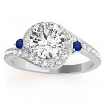 Halo Swirl Sapphire & Diamond Engagement Ring Palladium (0.48ct)