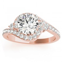 Diamond Halo Swirl Engagement Ring Setting 14k Rose Gold (0.48ct)