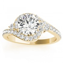 Diamond Halo Swirl Engagement Ring Setting 14k Yellow Gold (0.48ct)