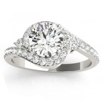Diamond Halo Swirl Engagement Ring Setting Platinum (0.48ct)
