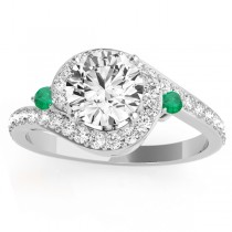 Halo Swirl Emerald & Diamond Engagement Ring 14k White Gold (0.48ct)