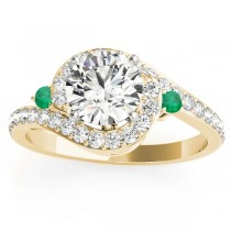 Halo Swirl Emerald & Diamond Engagement Ring 18K Yellow Gold (0.48ct)