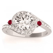 Halo Swirl Ruby & Diamond Engagement Ring 14k White Gold (0.48ct)