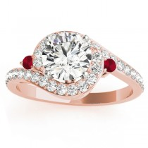 Halo Swirl Ruby & Diamond Engagement Ring 18K Rose Gold (0.48ct)