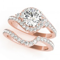 Halo Swirl Diamond Accented Bridal Set 14k Rose Gold (1.79ct)