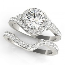 Halo Swirl Diamond Accented Bridal Set 14k White Gold (1.79ct)