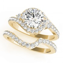 Halo Swirl Diamond Accented Bridal Set 14k Yellow Gold (1.79ct)