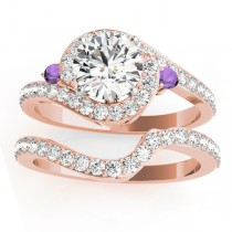 Halo Swirl Amethyst & Diamond Bridal Set 14k Rose Gold (0.77ct)