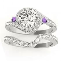 Halo Swirl Amethyst & Diamond Bridal Set 14k White Gold (0.77ct)