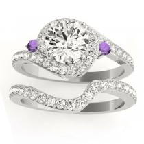 Halo Swirl Amethyst & Diamond Bridal Set 18K White Gold (0.77ct)
