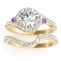 Halo Swirl Amethyst & Diamond Bridal Set 18K Yellow Gold (0.77ct)