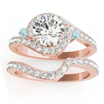 Halo Swirl Aquamarine & Diamond Bridal Set 14k Rose Gold (0.77ct)