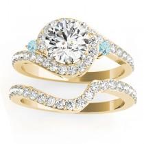 Halo Swirl Aquamarine & Diamond Bridal Set 18K Yellow Gold (0.77ct)
