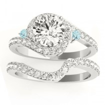 Halo Swirl Aquamarine & Diamond Bridal Set Palladium (0.77ct)