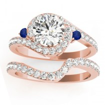 Halo Swirl Sapphire & Diamond Bridal Set 14k Rose Gold (0.77ct)
