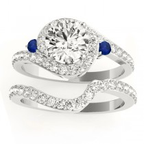 Halo Swirl Sapphire & Diamond Bridal Set 14k White Gold (0.77ct)