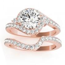 Halo Swirl Diamond Bridal Set Setting 14k Rose Gold (0.77ct)