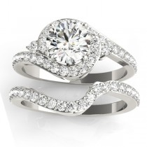 Diamond Halo Swirl Bridal Set Setting 14k White Gold (0.77ct)