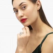 Diamond Halo Swirl Bridal Set Setting 14k White Gold (0.77ct)