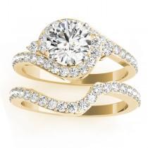 Halo Swirl Diamond Bridal Set Setting 14k Yellow Gold (0.77ct)