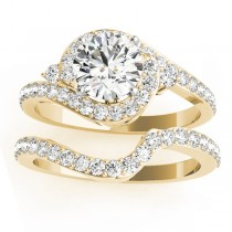 Diamond Halo Swirl Bridal Set Setting 18k Yellow Gold (0.77ct)