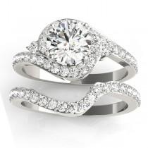 Diamond Halo Swirl Bridal Set Setting Platinum (0.77ct)