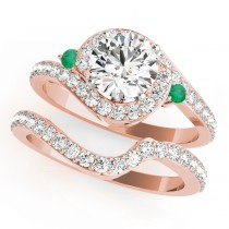 Halo Swirl Emerald & Diamond Bridal Set 14k Rose Gold (0.77ct)