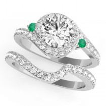 Halo Swirl Emerald & Diamond Bridal Set 14k White Gold (0.77ct)