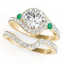 Halo Swirl Emerald & Diamond Bridal Set 14k Yellow Gold (0.77ct)