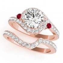 Halo Swirl Ruby & Diamond Bridal Set 14k Rose Gold (0.77ct)