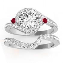 Halo Swirl Ruby & Diamond Bridal Set 14k White Gold (0.77ct)