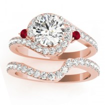 Halo Swirl Ruby & Diamond Bridal Set 18K Rose Gold (0.77ct)