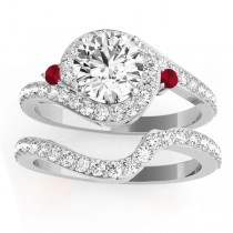 Halo Swirl Ruby & Diamond Bridal Set 18K White Gold (0.77ct)
