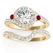 Halo Swirl Ruby & Diamond Bridal Set 18K Yellow Gold (0.77ct)