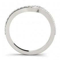 Diamond Swirl Contoured Wedding Band 14k White Gold (0.29ct)