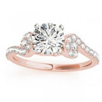Diamond Sidestone Accented Single Row Engagement Ring 14k Rose Gold (0.39 ct)
