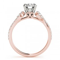 Diamond Single Row Curved Engagement Ring 18k Rose Gold (0.39 ct)