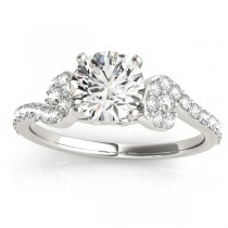 Diamond Sidestone Accented Single Row Engagement Ring 18k White Gold (0.39 ct)