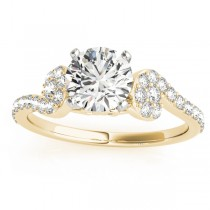 Diamond Single Row Curved Engagement Ring 18k Yellow Gold (0.39 ct)