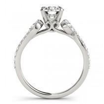 Diamond Single Row Bridal Set Setting 14k White Gold (0.68 ct)