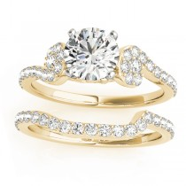 Diamond Sidestone Accented Single Row Bridal Set 14k Yellow Gold (0.68 ct)