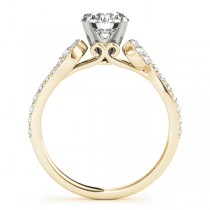 Diamond Single Row Bridal Set Setting 18k Yellow Gold (0.68 ct)
