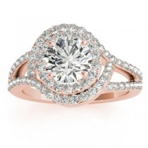 Split Shank Double Halo Diamond Engagement Ring 14k Rose Gold (0.80ct)