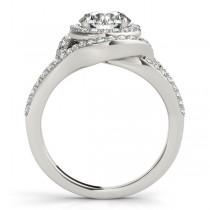 Split Shank Double Halo Diamond Engagement Ring 14k White Gold 0.80ct