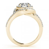 Split Shank Double Halo Diamond Engagement Ring 14k Yellow Gold 0.80ct