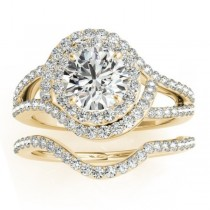 Diamond Engagement Ring Setting & Wedding Band 14k Yellow Gold 1.06ct