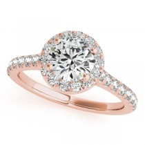Round Diamond Halo Engagement Ring 18k Rose Gold (1.33ct)